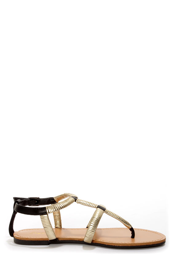 Promise Guide Black and Gold-Wrapped T-Strap Thong Sandals at Lulus.com!