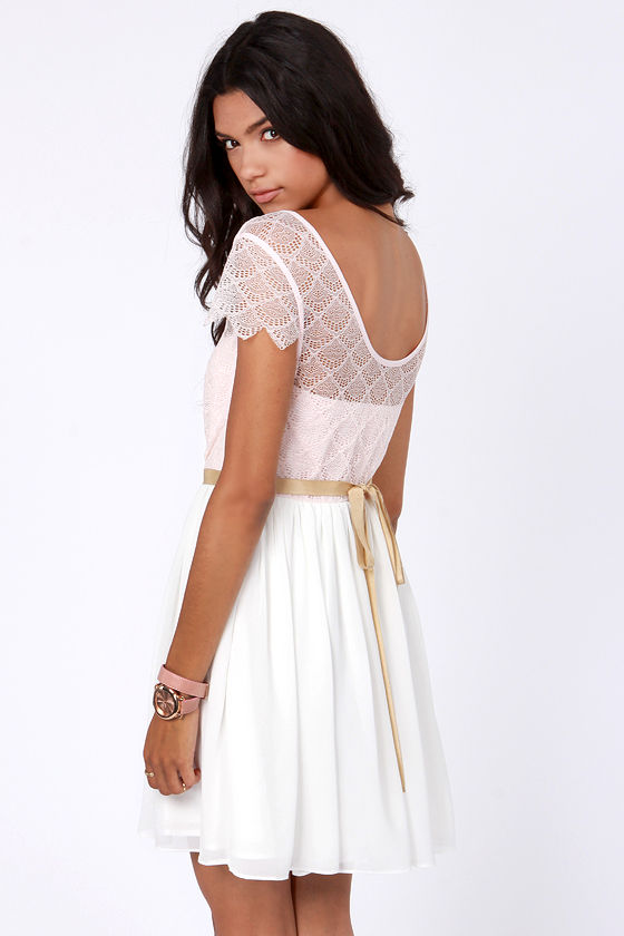 Lace-ies and Gentlemen Pink and Ivory Lace Dress at Lulus.com!