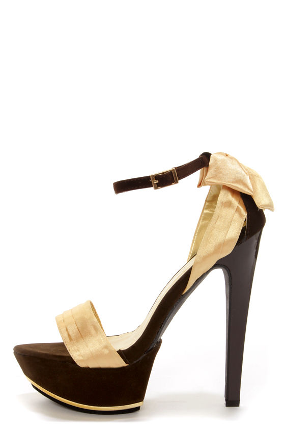 Shoe Republic LA Maker Gold Satin Platform Dress Sandals at Lulus.com!