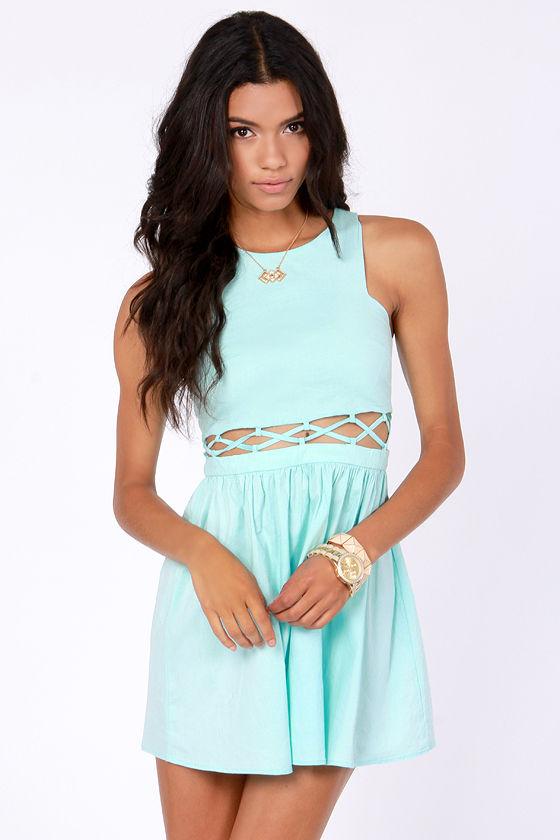 Cute Mint Blue Dress - Cutout Dress - Skater Dress - $42.00