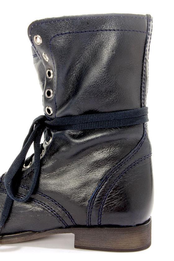 steve madden troopa denim blue leather lace up combat