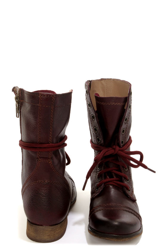 f98c00fbab0 Steve Madden Troopa Wine Leather Lace-Up Combat Boots
