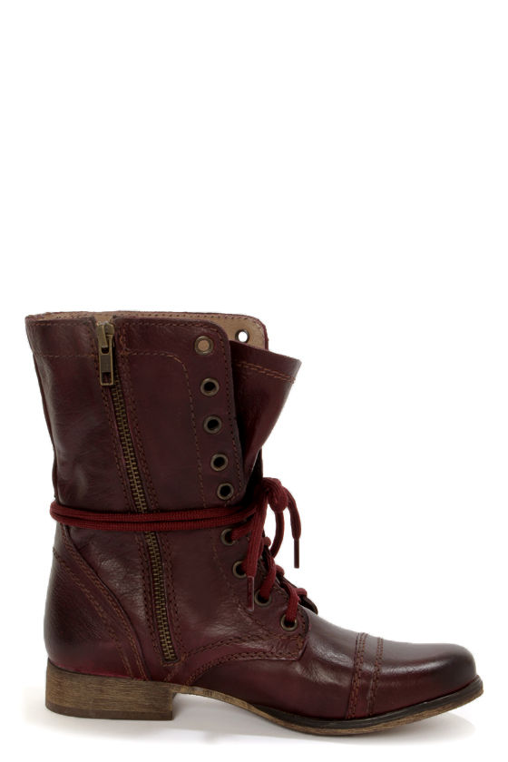 Steve Madden Troopa Wine Leather Lace-Up Combat Boots - $99.00