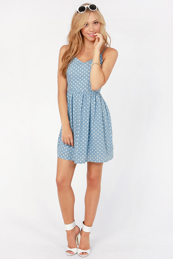 Dot So Hot Blue Polka Dot Dress at Lulus.com!