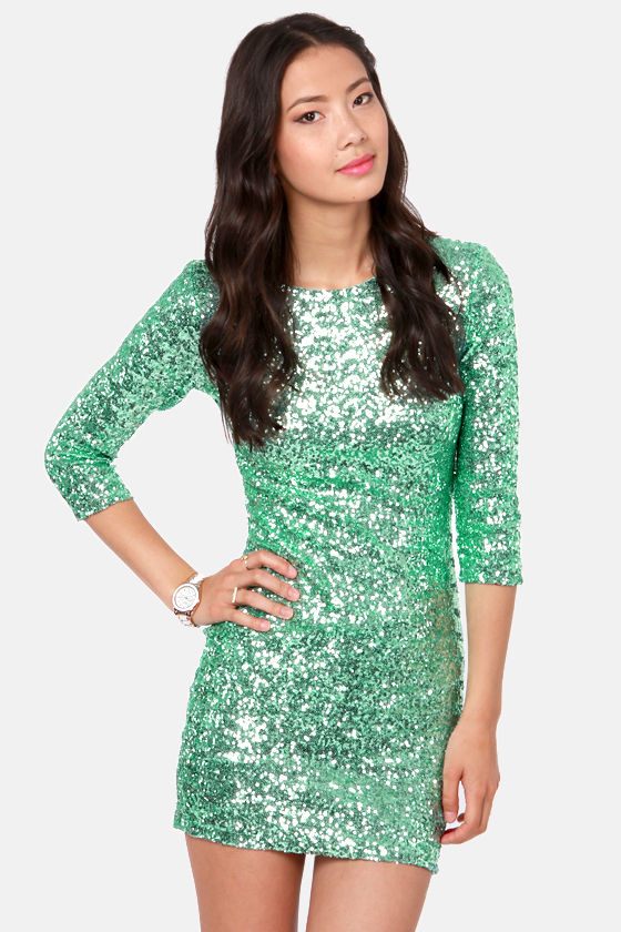 TFNC Paris Dress - Mint Green Dress - Sequin Dress - $115.00