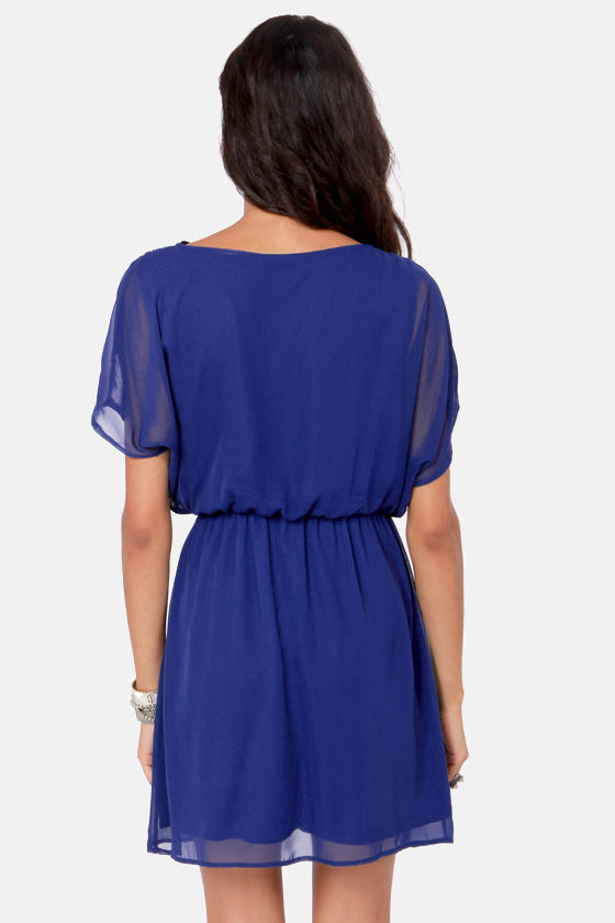 Mighty Aphrodite Dark Blue Dress at Lulus.com!