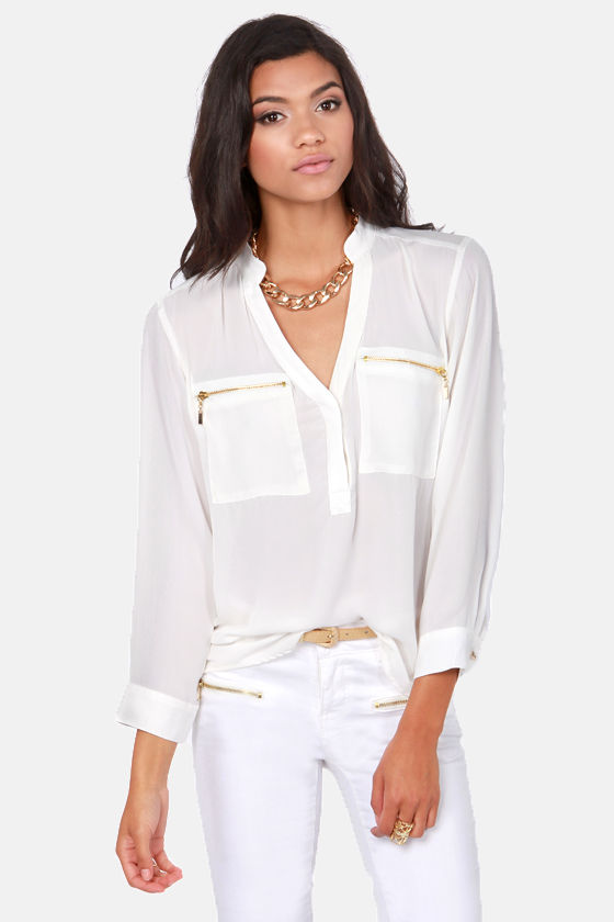 Cute White Top - Long Sleeve Top - Sheer Top - $49.00