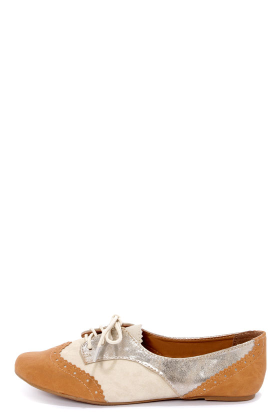 Not Rated Party Pops Tan Color Block Oxford Flats at Lulus.com!