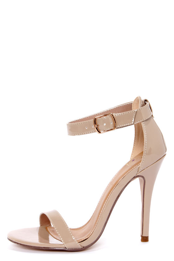My Delicious Chacha Dark Beige Patent Single Strap High Heels - $22.00