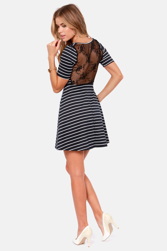The Coast is Sheer Navy Blue Striped Lace Dress at Lulus.com!