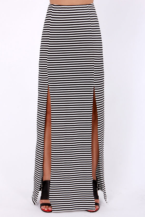 Repeat Yourself Black and White Striped Maxi Skirt at Lulus.com!