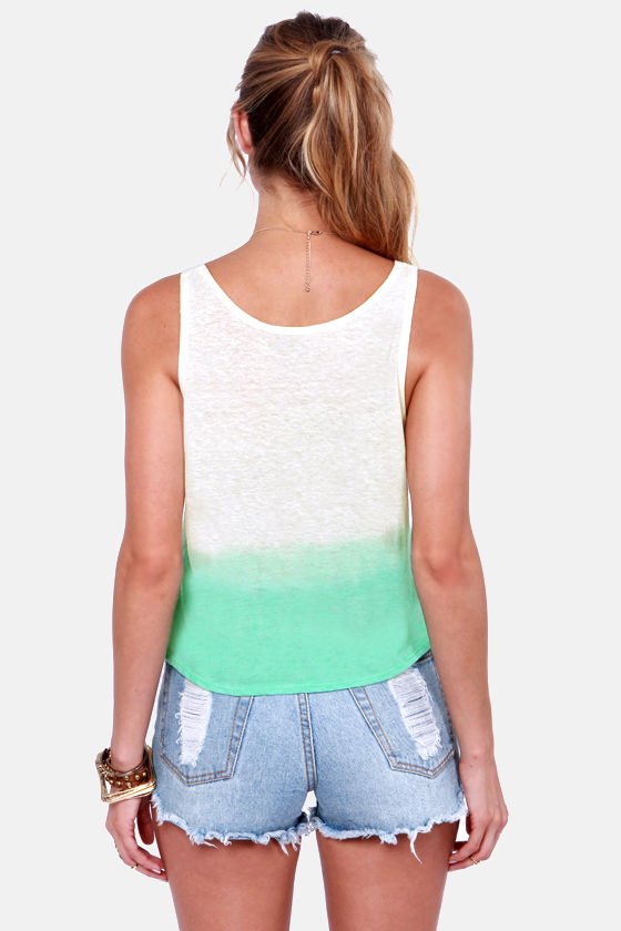Obey Break Up Nubby Aqua Ombre Tank Top at Lulus.com!