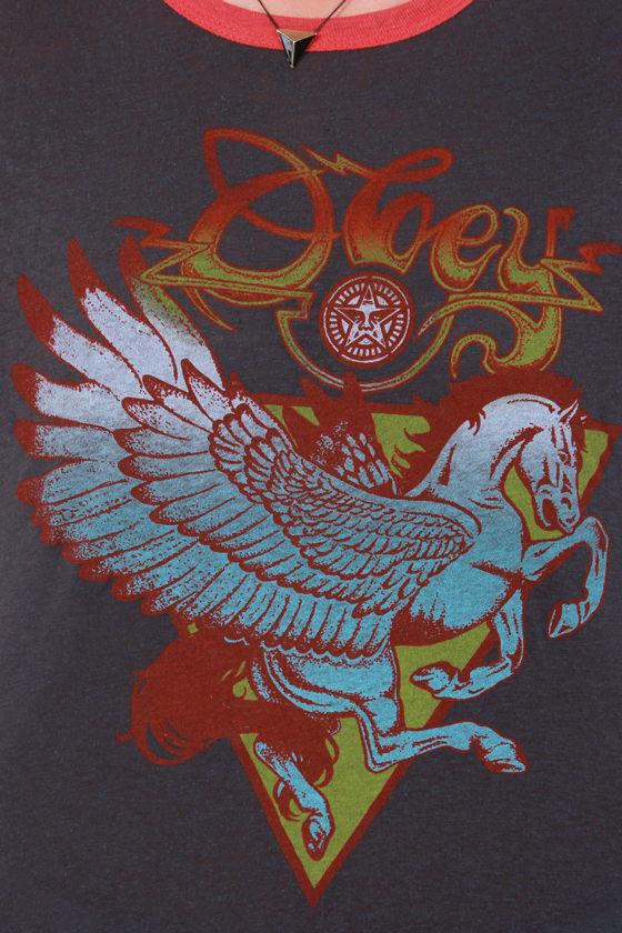 Obey Pegasus Nubby Grey Print Tee at Lulus.com!