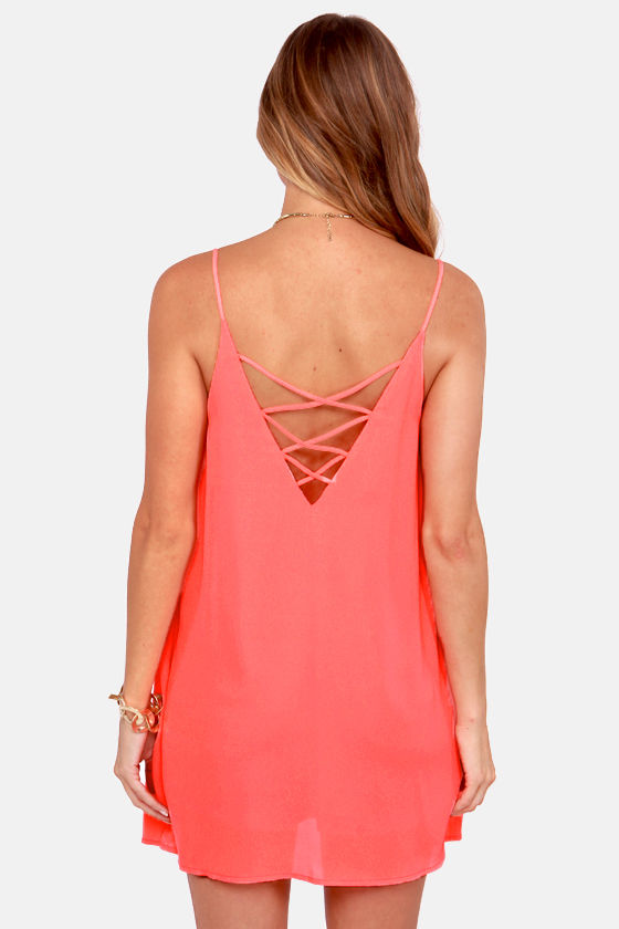Princess Beach Neon Coral Shift Dress at Lulus.com!