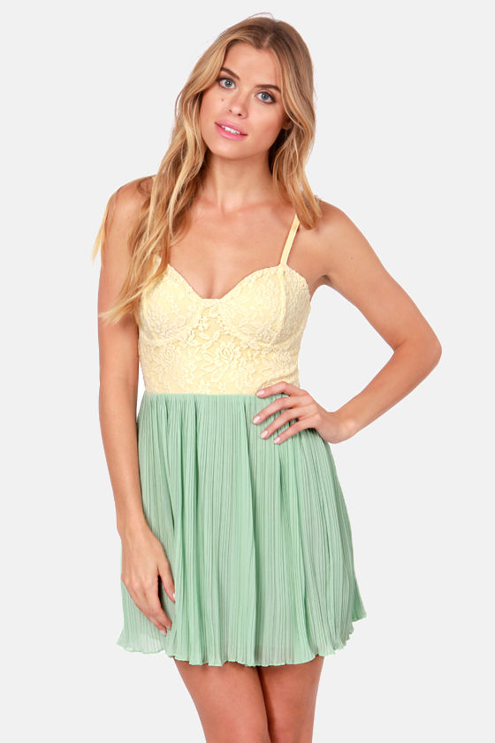 Lost Ava Mint Green and Cream Lace Dress at Lulus.com!