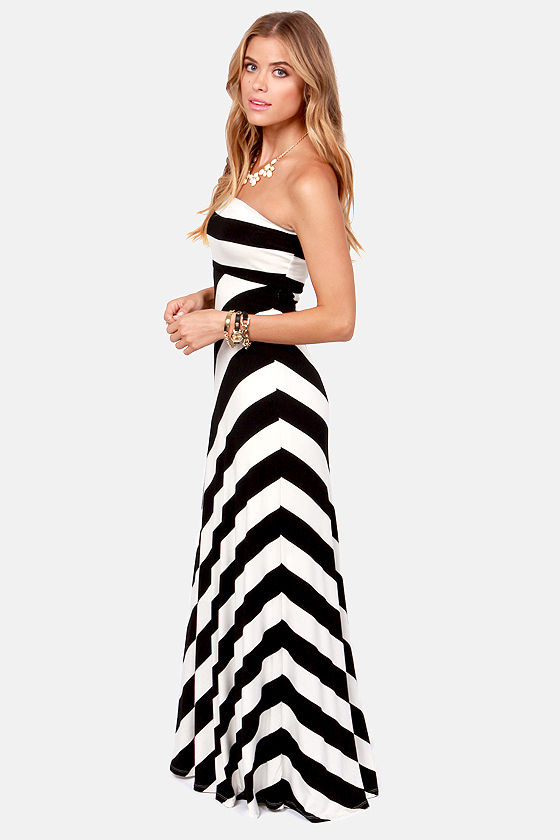 Classic Park Black and Ivory Striped Maxi Dress at Lulus.com!