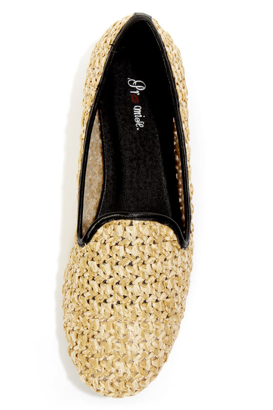 Promise Garron Black Faux Straw Smoking Slipper Flats at Lulus.com!