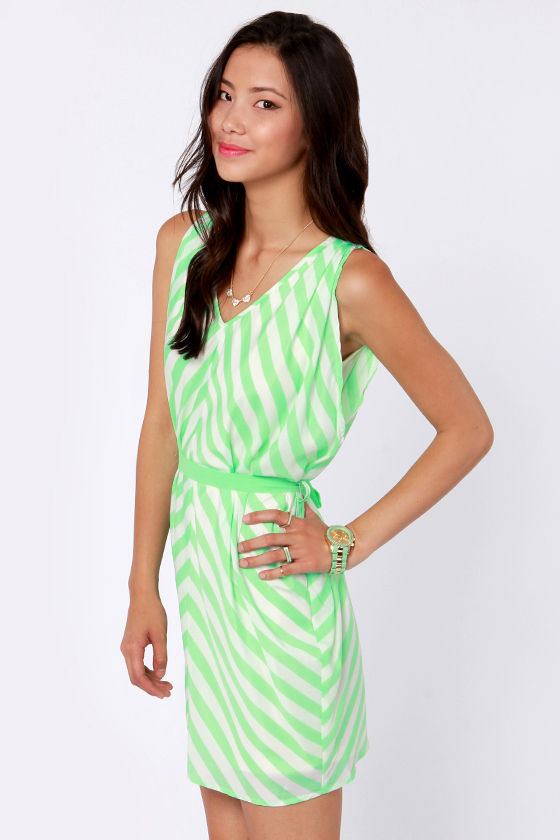 Top of the Incline Mint Green and Ivory Striped Dress at Lulus.com!