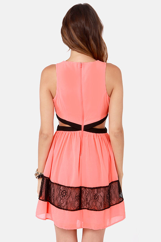 Slice Slice Baby Cutout Coral Dress at Lulus.com!