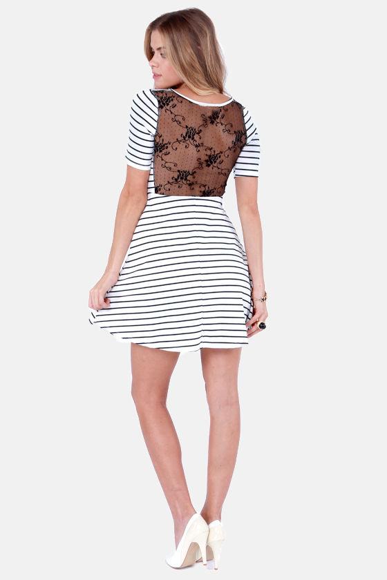 fbe9cfa3f1 Cute Striped Dress - Lace Dress - White Dress - $38.00