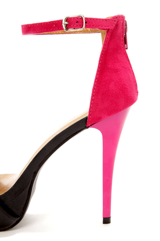 Shoe Republic LA Dysis Black and Pink Single Strap High Heels at Lulus.com!