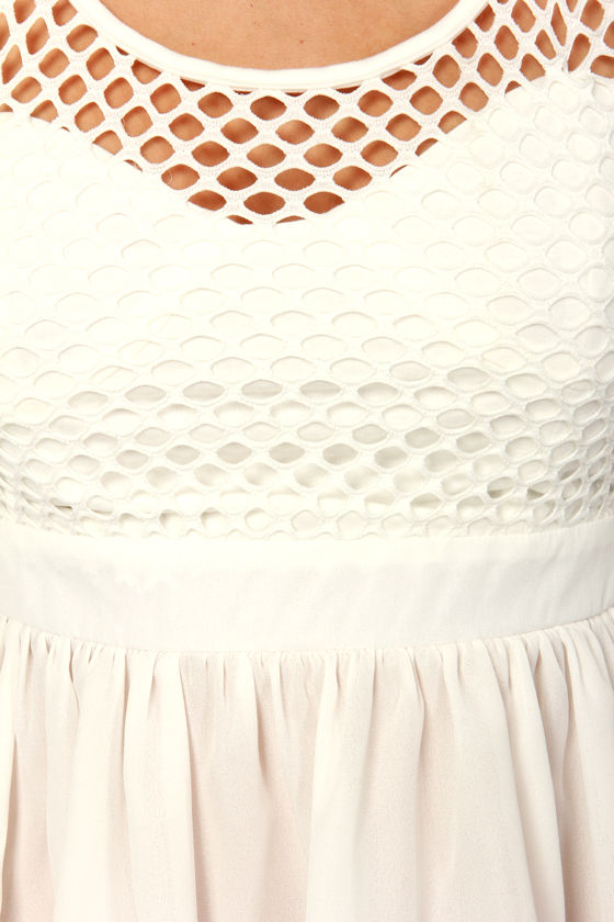 Here Goes Netting White Peplum Top at Lulus.com!