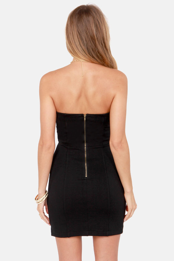Days of Thunderbirds Black Vegan Leather Strapless Dress at Lulus.com!