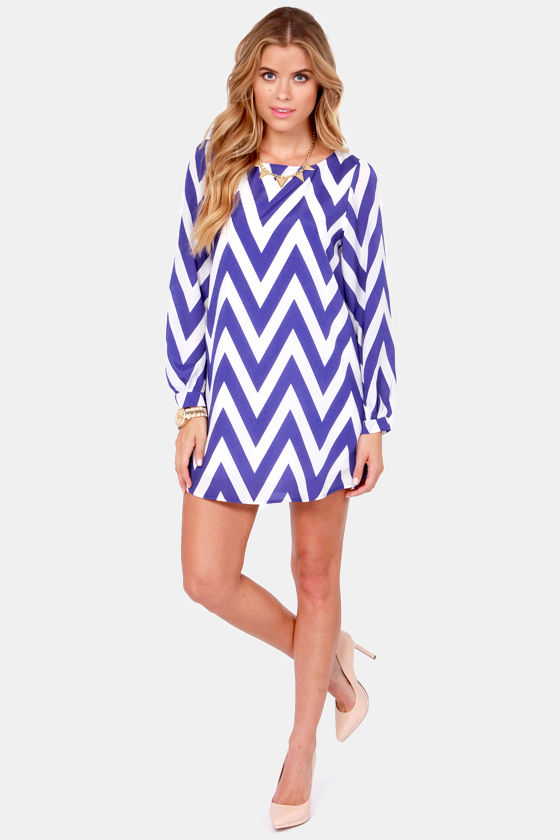 Zag Along Royal Blue and Ivory Striped Dress at Lulus.com!