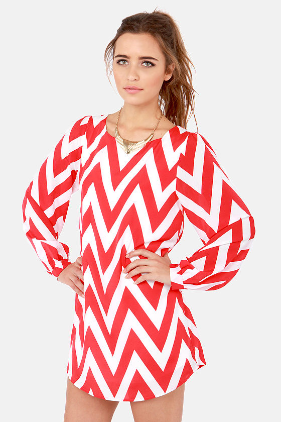Zag Along Red and Ivory Striped Dress at Lulus.com!