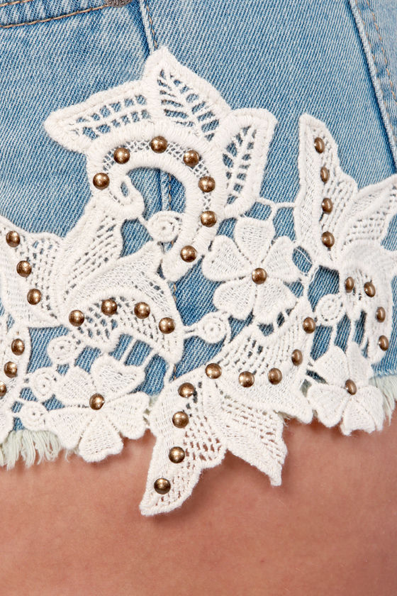 Now and Denim Lace Jean Shorts at Lulus.com!
