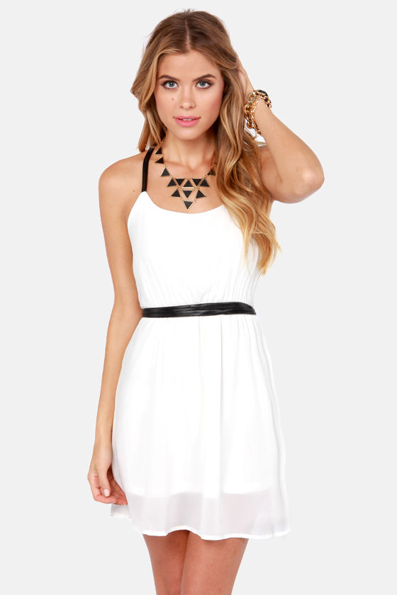 Want You Back Black and Ivory Belted Dress at Lulus.com!