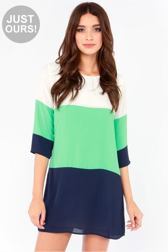 LULUS Exclusive Citrus Grove Blue Color Block Shift Dress at Lulus.com!