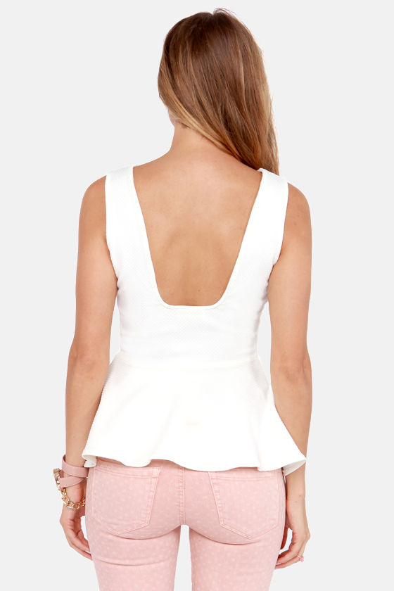 Textural Healing Cream Peplum Top at Lulus.com!