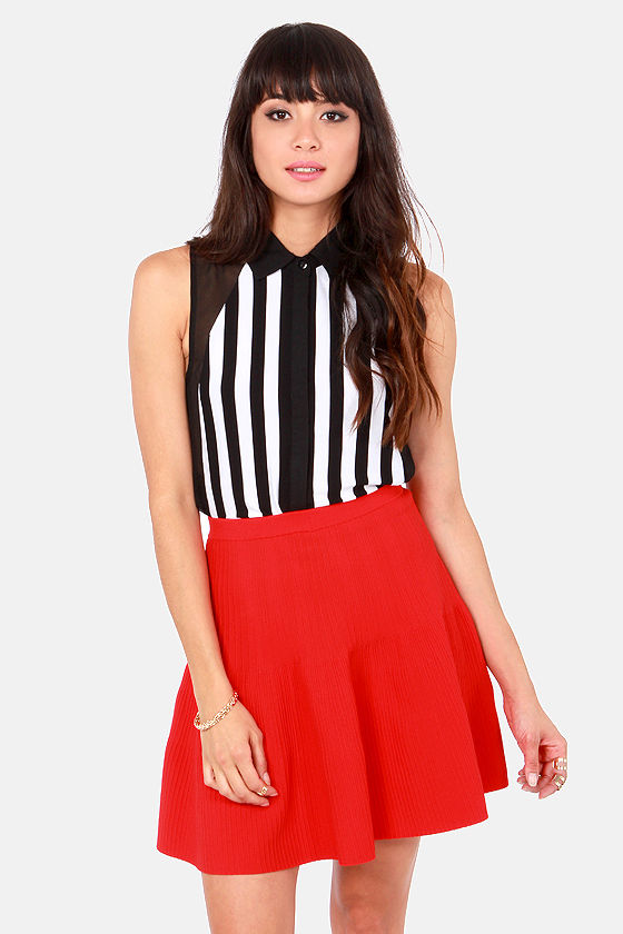 Make the Call Black and White Striped Top at Lulus.com!