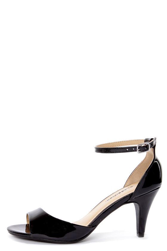 City Classified Tupper Black Patent Peep Toe Kitten Heels -  21.00