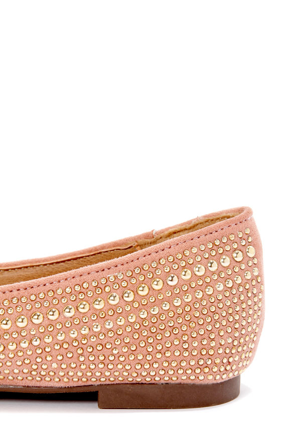 Vena 03 Blush Pink Studded and Pointed Smoking Slipper Flats at Lulus.com!