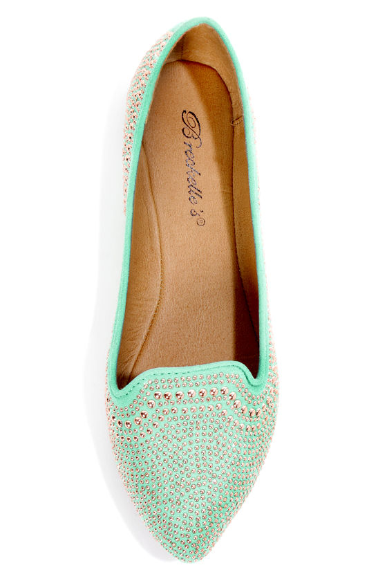 Vena 03 Mint Studded and Pointed Smoking Slipper Flats at Lulus.com!