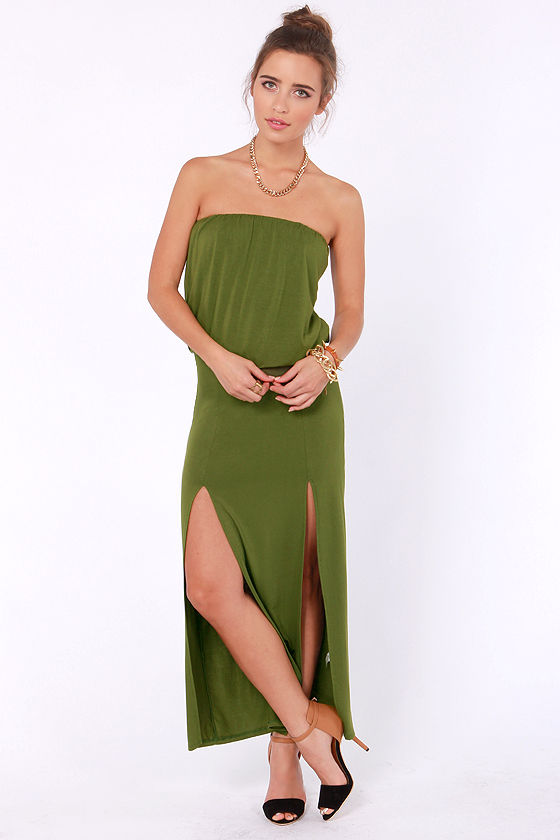 Maximum Advantage Strapless Olive Green Maxi Dress at Lulus.com!