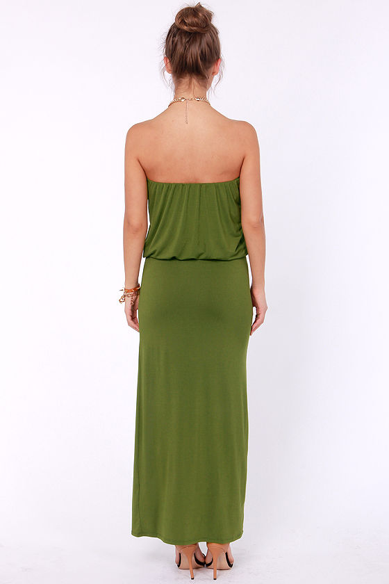 Strapless olive maxi dress