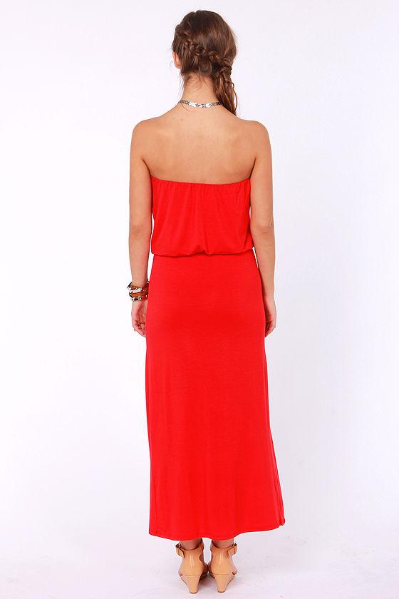 Maximum Advantage Strapless Red Maxi Dress at Lulus.com!