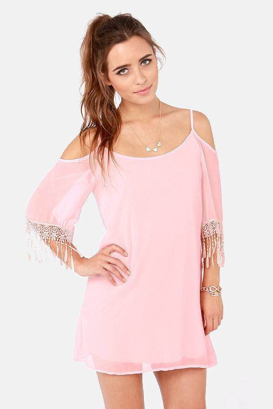 Pretty Pink Dress - Off-the-Shoulder Dress - Lace Dress - $41.00