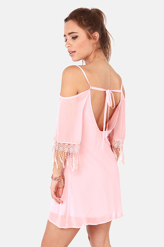 Slide and True Off-the-Shoulder Pink Dress at Lulus.com!