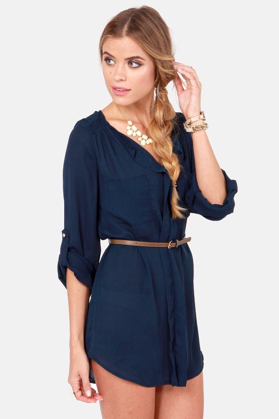 5e989860e2c Cute Navy Blue Dress - Belted Dress - Shirt Dress -  42.00