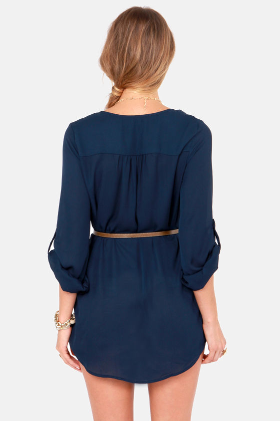 Keep It Real Belted Navy Blue Shirt Dress at Lulus.com!