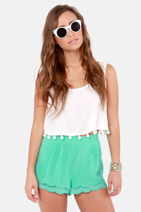 Cute Mint Green Shorts - Scalloped Shorts - High-Waisted Shorts ...