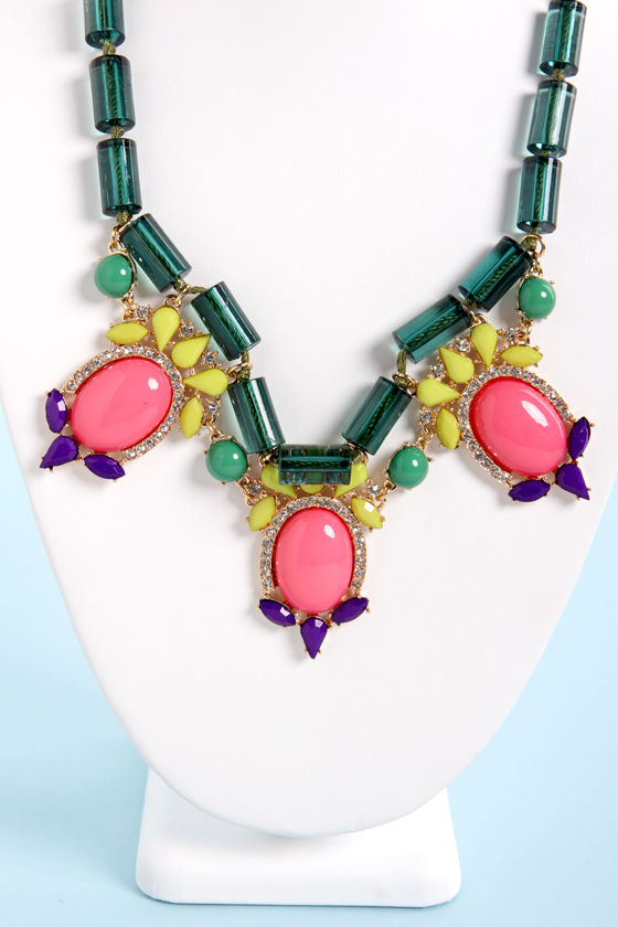 Socialite Brite Pink and Green Necklace at Lulus.com!