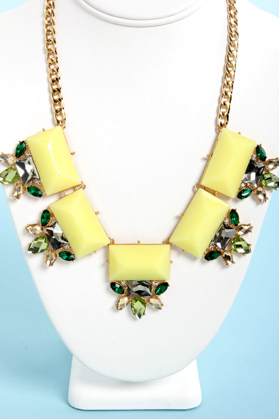 Glitz and Glamor Yellow Statement Necklace at Lulus.com!