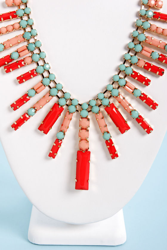 Catching Fireworks Mint, Coral, and Red Necklace at Lulus.com!