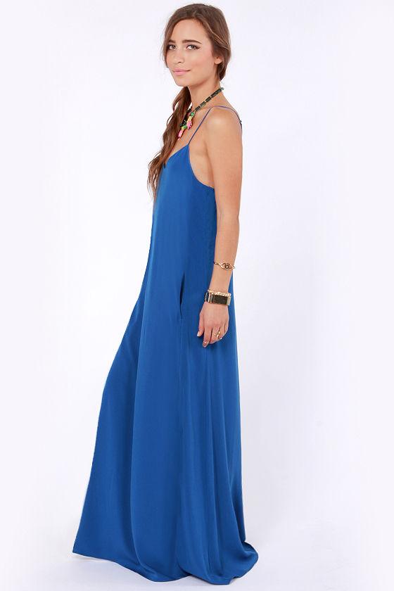 I'll Slink to That Royal Blue Maxi Dress at Lulus.com!