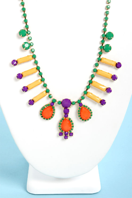 Complementary Colors Multi Rhinestone Necklace at Lulus.com!